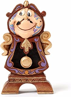 "Disney Traditions by Jim Shore ""Beauty and the Beast"" Cogsworth Stone Resin Figurine, 4.25"""