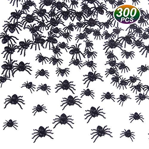 TUPARKA 300 Piezas Arañas Negras Falsas Mini arañas realistas Accesorios de Broma de Fiesta de Halloween Tamaño Mixto