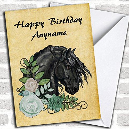Vintage Friese Paard Hoofd & Bloemen Verjaardagskaart Met Envelop, Kan Volledig Gepersonaliseerd, Verzonden Snel & Gratis