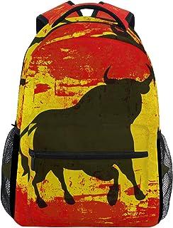Mochila de la bandera española Bull impermeable escuela bolsa de hombro gimnasio mochila rojo amarillo portátil bolsa de viaje al aire libre para niños niñas mujeres hombres