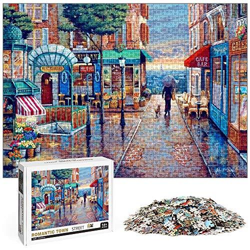 O Kinee Rompecabezas de la Ciudad Romántica 1000 Piezas, Puzzle Creativo, Puzzles para Adultos, DIY Arte Rompecabezas, Intelectual Educativo Rompecabezas, Divertido Juego Familiar Puzzle