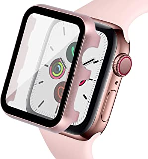 Ritastar for Apple Watch Case with Screen Protector 44mm Metal Bumper Cover,HD Clear High Sensitive Screen Response,Bubble-Free,PET Film,Shockproof Protection for iWatch Series 5 4 Women Rose Gold