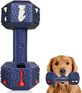 Jomilly Dog Chew Toys for Aggressive Chewers Indestructible Dog Toys Non-Toxic Tough Natural Rubber Dumbbell Toy for Mediu...