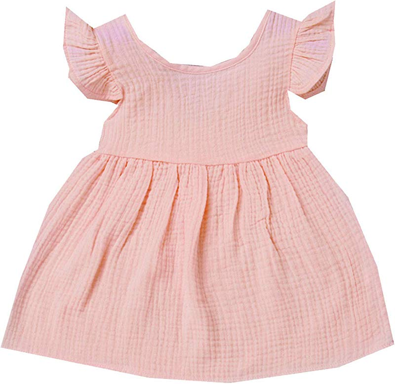 Baby Dresses Girl Summer Fly Sleeve Solid Dress Clothes Dresses Pink 6M United Ates