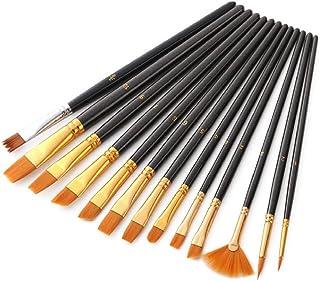 画材筆 ペイント 水彩筆 13本セット 油絵筆 ブラシ 筆 刷毛 絵筆 セット ナイロン製 長いハンドル 丸筆 平型筆 短毛筆 絵具 ブラック