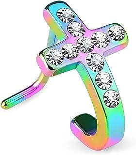 20G *钢双 L 形部分环水晶十字架鼻钉