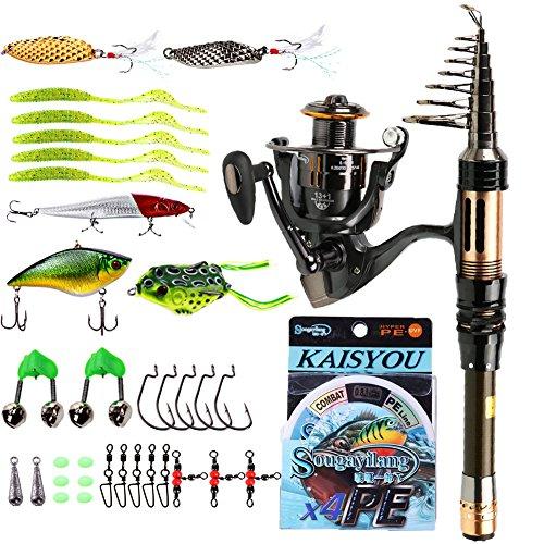 Sougayilang Mini Spinning Fishing Rod and Reel Combos Portable Pocket Telescopic Fishing Pole Spinning Fishing Reel for Kids & Adults Travel Saltwater Freshwater Fishing