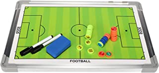 Vaorwne Portable Football Tactic Board Training Guide Double Sided Magnetic Tactic Board with Magnetic Rewritable Tactic Board