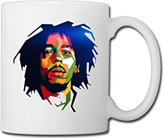 Cool Bob Marley Cool Colorful Art Design Ceramic Coffee Mug, Tea Cup | Best Gift For Men, Women And Kids - 13.5 Oz, White