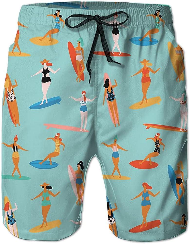 DISGOWONG Mens Swim Trunks Girls Playing Ukulele and Dancing Hula Pattern Hawaii surf Quick-Drying Beach Pants XXL