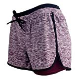 RIBOOM Women Workout Fitness Running Shorts, Double Layer Elastic...