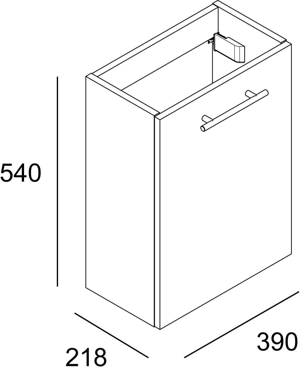Mobiletto bagno sospeso Cygnus Mini Bath 54 x 39 x 21.8 cm Bianco laccato 1 porta con chiusura progressiva