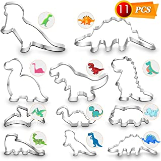 Dinosaur Cookie Cutters Set - 11 PCS Stainless Steel Shaped Cookie Candy Food Cutters Molds for DIY, Kitchen, Baking, Kids Dinosaur Theme Birthday Party Supplies Favors