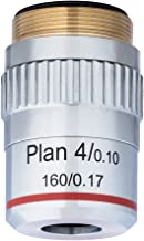 AmScope 4X Plan Achromatic Objective Lens with Knurled Ring