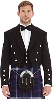 Kilt Society Mens Scottish Black Prince Charlie Kilt Jacket & Vest