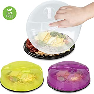 Microwave Plate Cover, NUOSEM Microwave Cover for Food/Dish/Bowl/Microwave Oven - 3pack BPA Free Plastic Lid 10in with Steam Vents Anti Splatter Splash Guard Cover - Improved Easy Grip Microwave Lid