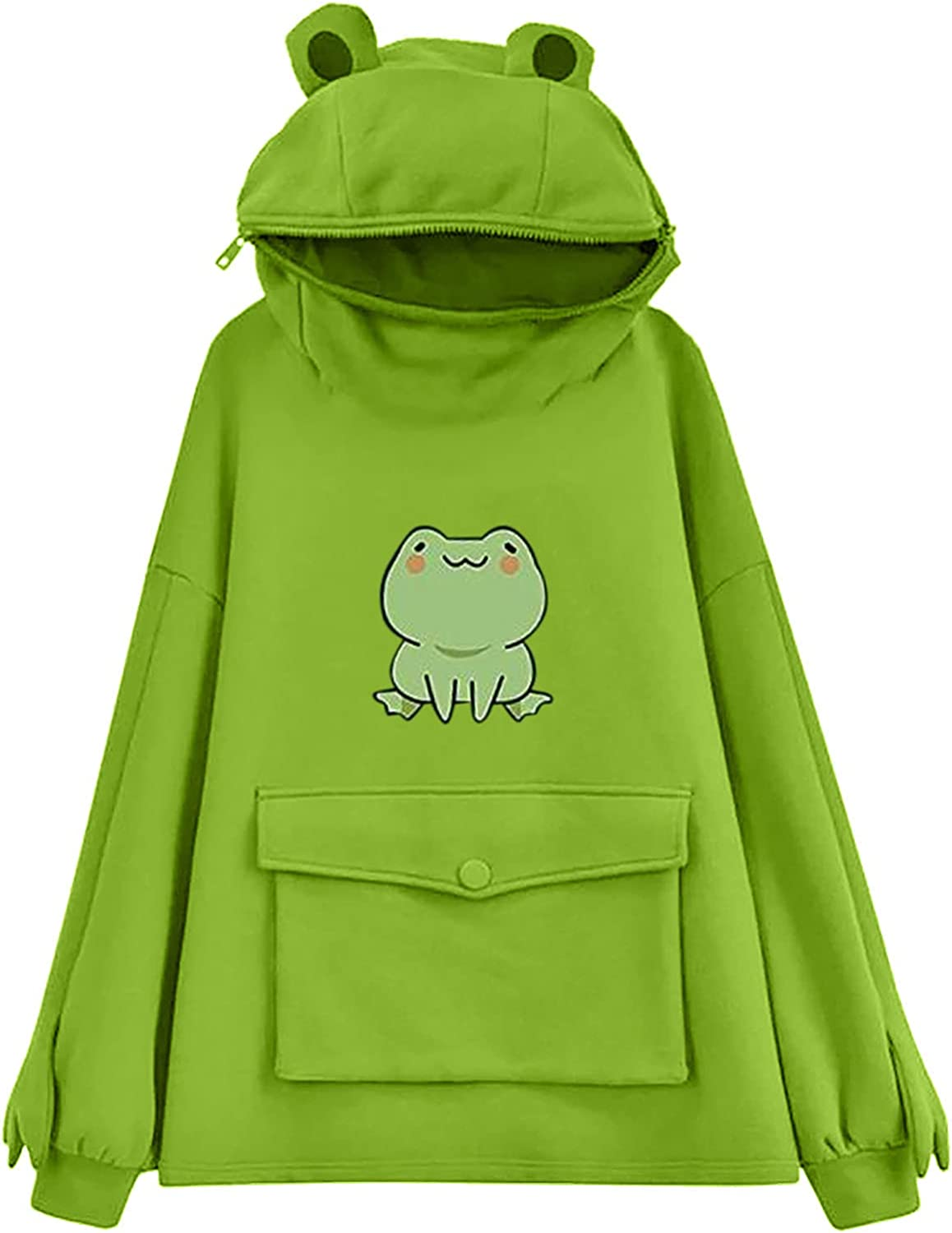 UOCUFY Sweatshirts for Women, Womens Hoodies Frog Hooded Sweatshirts Tops Fall Drawstring Pullover Hoodies with Pockets