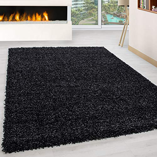 Bravich RugMasters LARGE ANTHRACITE/CHARCOAL GREY BLACK Shaggy Rug 5 cm Thick Shag Pile Soft Shaggy Area Rugs Modern Carpet Living Room Bedroom Mats 120x170 cm (4ft x 5ft6)