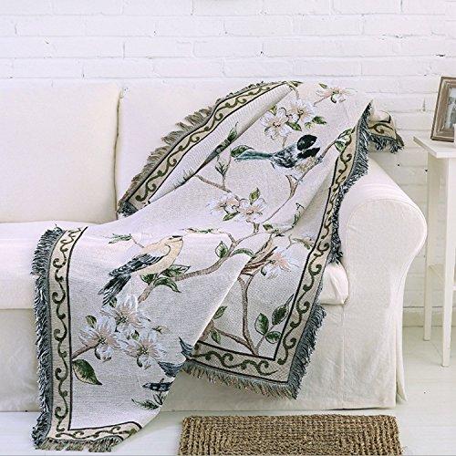 WJP Les Textiles en Coton 100 % Naturel Douce Couverture Accueil Canapé-lit Throw Blanket Chenille Polaire European American Country 135
