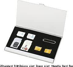Myymee 2 SIM Standard Card Card Holders + 2 Micro Card Holders+ 2 Nano Sim Card Holders,Metal Aluminum Alloy SD Card Holder Case Mobile Phone Memory Card Storage Bag Silver