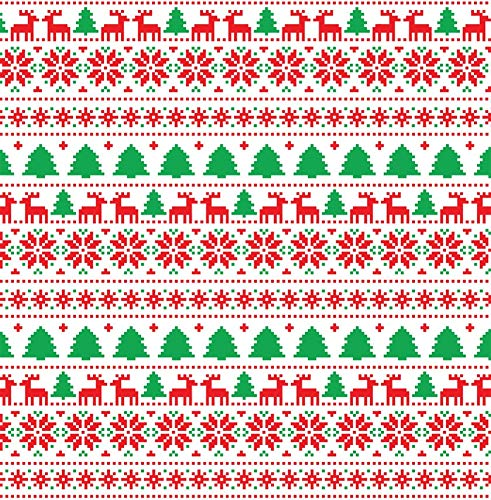 Wall Art White Christmas Tree Reindeer Patterned Printed Sticky Vinyl Ugly Reindeer Sweater Print Sticker Material Easy to Apply