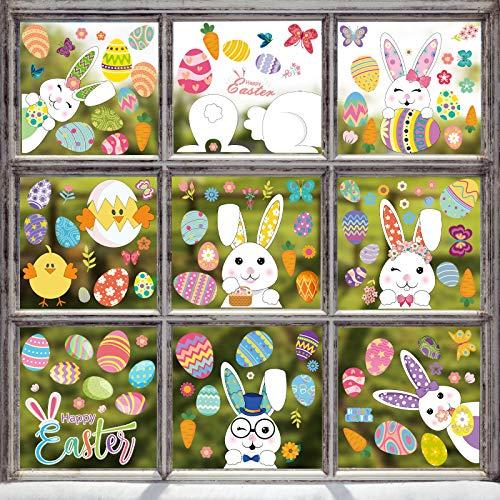 Hianjoo 9 Blätter Ostern Fensterbilder Selbstklebend, Fensterdekoration Ostern Wiederverwendbar mit Hasen Ostereier Muster, Fenster Aufkleber Dekorationen für Ostern