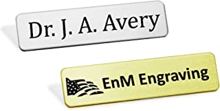 Heavy Gauge Military Style Metal Name Badge, Custom Engraved Uniform Name Badge, Fused Posts, 1/2