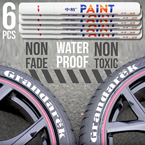 Tire Paint Pen White Car Tire Marker | set of 6 pieces Waterproof Permanent Marker Pen for painting of automobile tires | Paint Car Tyre Tire Tread Rubber Universal