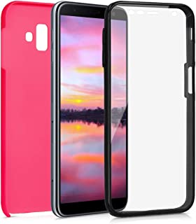 kwmobile Case for Samsung Galaxy J6+ / J6 Plus DUOS - 360° Cover with TPU Bumper and Built-in Screen Protector - Dark Pink