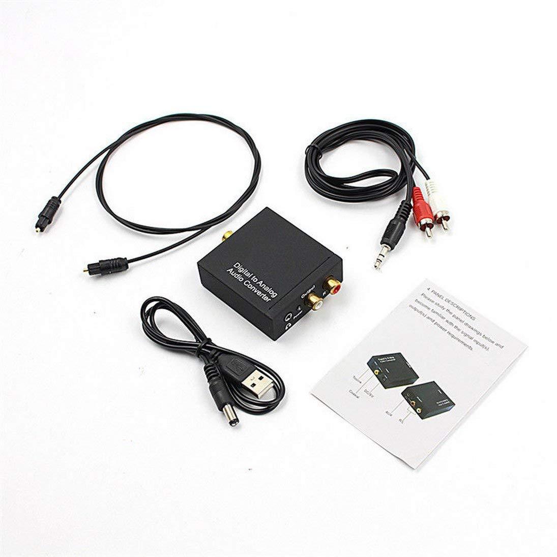 WEIHAN 3.5mm Digital Coaxial Toslink Óptico a analógico L/R RCA ...