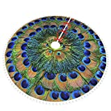 POUKOEY Peacock Feather Circle Christmas Tree Skirt, 48' Double Layers Thick Xmas Tree Skirts Mat with Pom Pom Trim for Home Holiday New Years Party Decoration