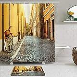 LISNIANY Conjunto De Ducha Cortina Alfombra,Wanderlust Street en Roma Italia Viajes en Bicicleta Destinos de Luna de Miel Luces del Sol y día Soleado Imprimir,Uso en baño, Hotel