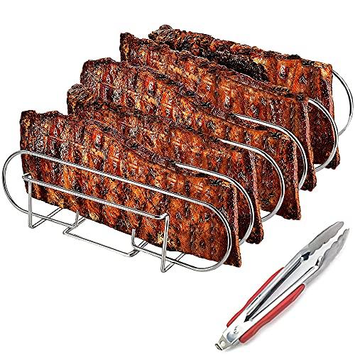 Spareribs - Griglia per arrosti e supporto a coste in acciaio inox, per la preparazione di 5 spolverini e arrosti su barbecue a gas e a carbone, lavabile in lavastoviglie, 33 x 29 x 8 cm