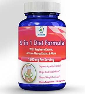 Natural Herbal Blend Raspberry Ketone 9 in 1 Diet Formula with African Mango Acai Berry Green Tea Resveratol and More 9 Ingredients in 1 Diet/Cleanse Weight Management Supplement 120 Count per Bottle