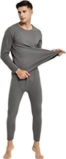 newrong Men's Autumn Velvet Underwear and Trousers - Grey - XXXXL