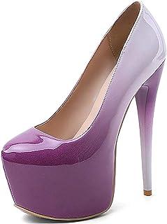 ZMYC Women's High Heels, Gradient Single Shoes Waterproof Platform, Round Toe Stiletto Heel Pumps Court Shoes (Color : Pur...