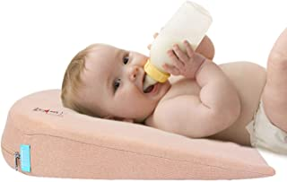 Baby Crib Wedge Pillow Feeding Pillows for Toddler Removeable Anti Spit Milk Pillow for Inflant 15-Degree Incline for Bett...