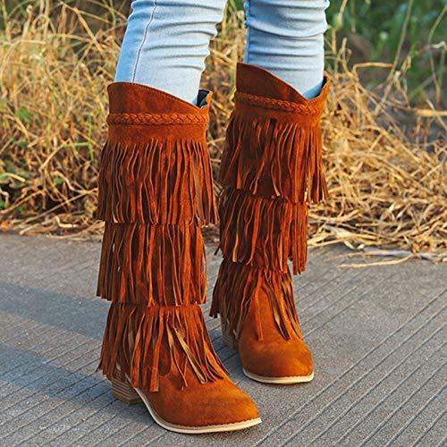 LYYJF Nation Style Flock - Botas largas para mujer, piel auténtica, flecos, tacón plano, borla, color marrón, 40