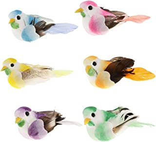 lwingflyer 6pcs Artificial Simulation Foam Birds with Attached Magnet Feather Mini Ornaments DIY Craft for Wedding Decoration Home Garden Party Accessories 6cm/2.36inch