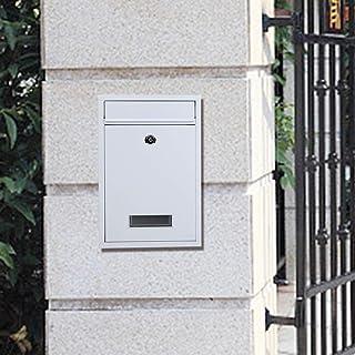 HelloCreate 郵便箱 メイルボックス 家庭 アイアン 壁掛け メールボックス レターボックス 2つのキー 付き(白)