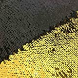 Gold Black Mermaid Sequin Fabric by The Yard 2 Tone Flip UP Mesh Lace Sequin Fabric Magic Overlapping Sequin for Girl Costume Dress/Lady Evening Dress Pillow Cushion Cover Wedding Decor