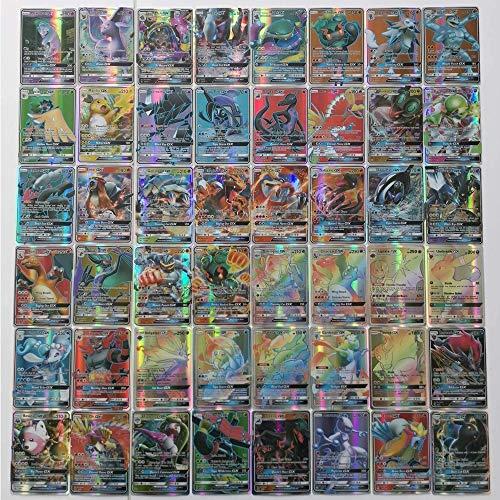Kit de Juego de Cartas Pokemon de 100 Piezas Tarjetas de Juego Pokemon 95 GX + 5 Mega Divertidos Juegos de Cartas para niños (95 GX + 5 Mega)