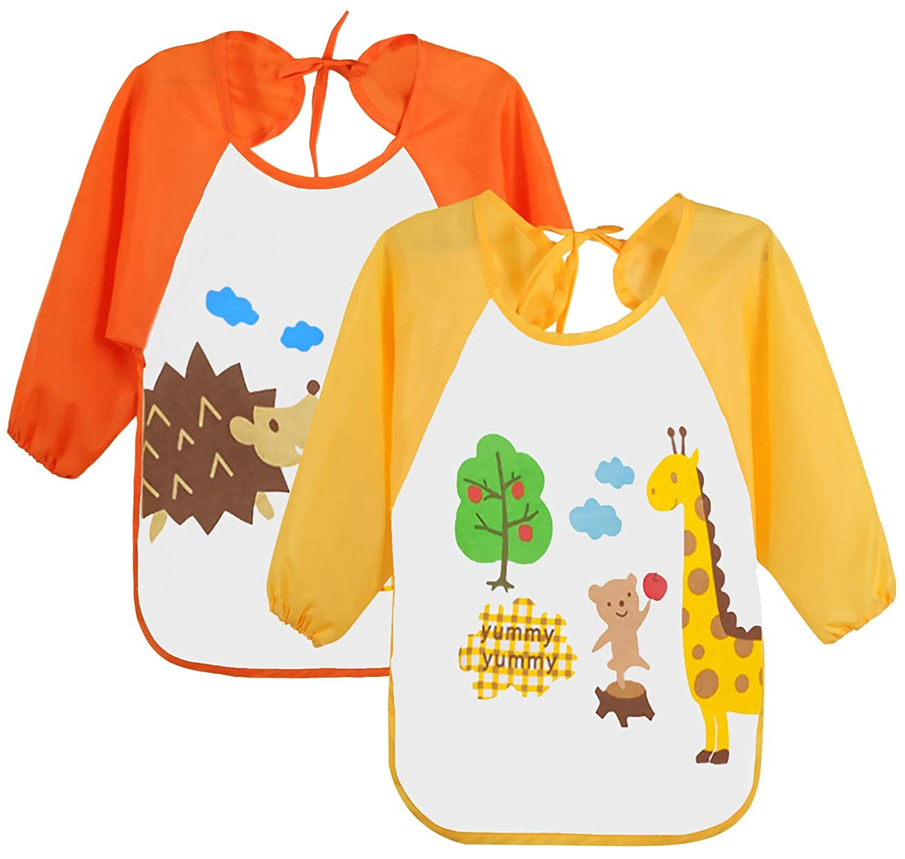 Leyaron 2 Pack Unisex Infant Toddler Baby Waterproof Sleeved Bib, 6 Months-3 Years, Orange Monkey and Yellow Giraffe