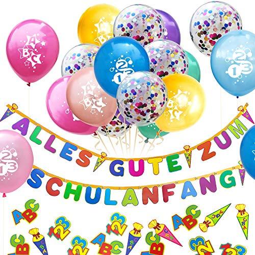 Oblique Unique® Schuleinführung Schulanfang Einschulung Deko Set für Junge und Mädchen - Alles Gute zum Schulanfang Girlande + Konfetti Luftballons + ABC 123 Konfetti