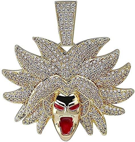 Yiffshunl Collar Dragon Ball Colgante Collar Iced out Circón Circón Hip Hop Oro Plata Color Hombres Mujeres Encantos Cadena Joyería Cadena Cubana 24 Pulgadas para Mujeres Hombres