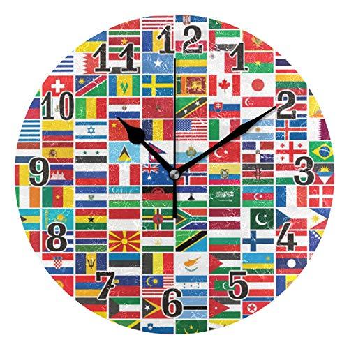 CPYang Reloj de pared con estampado de bandera del mundo, silencioso, no hace tictac, redondo decorativo para el hogar, sala de estar, dormitorio, cocina, oficina, escuela