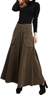 ELPIS レディース スカンツ 極太 ワイド パンツ スカーチョ 大きめ サイズ 豊富 3色 アーミーグリーン M