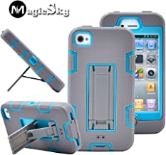 iPhone 4s case, iPhone 4 case, MagicSky Robot Series Hybrid Armor Defender Case Cover with Kickstand for Apple iPhone 4/4S - LightGray