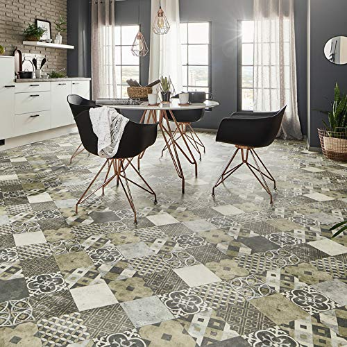 TAPETENSPEZI PVC Bodenbelag Vintage Fliese Grau | Vinylboden als Muster | Fußbodenheizung geeignet | Vinyl Planken strapazierfähig & pflegeleicht | Fußbodenbelag für Gewerbe/Wohnbereich