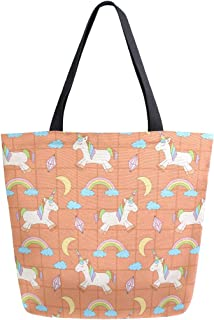 Mnsruu Mnsruu Handtasche aus Segeltuch, für Damen, mit Griff, Einkaufstasche, in Orange, quadratisch, Einhorn-Tasche, lässig, für Strand, Multifunktionstaschen für Damen